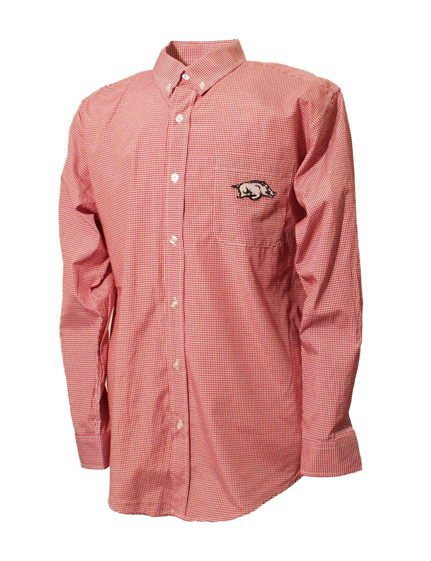 NCAA Red Plaid Casual Button Down Shirts