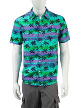 Ocean Current Sundown Palm Print Shirt