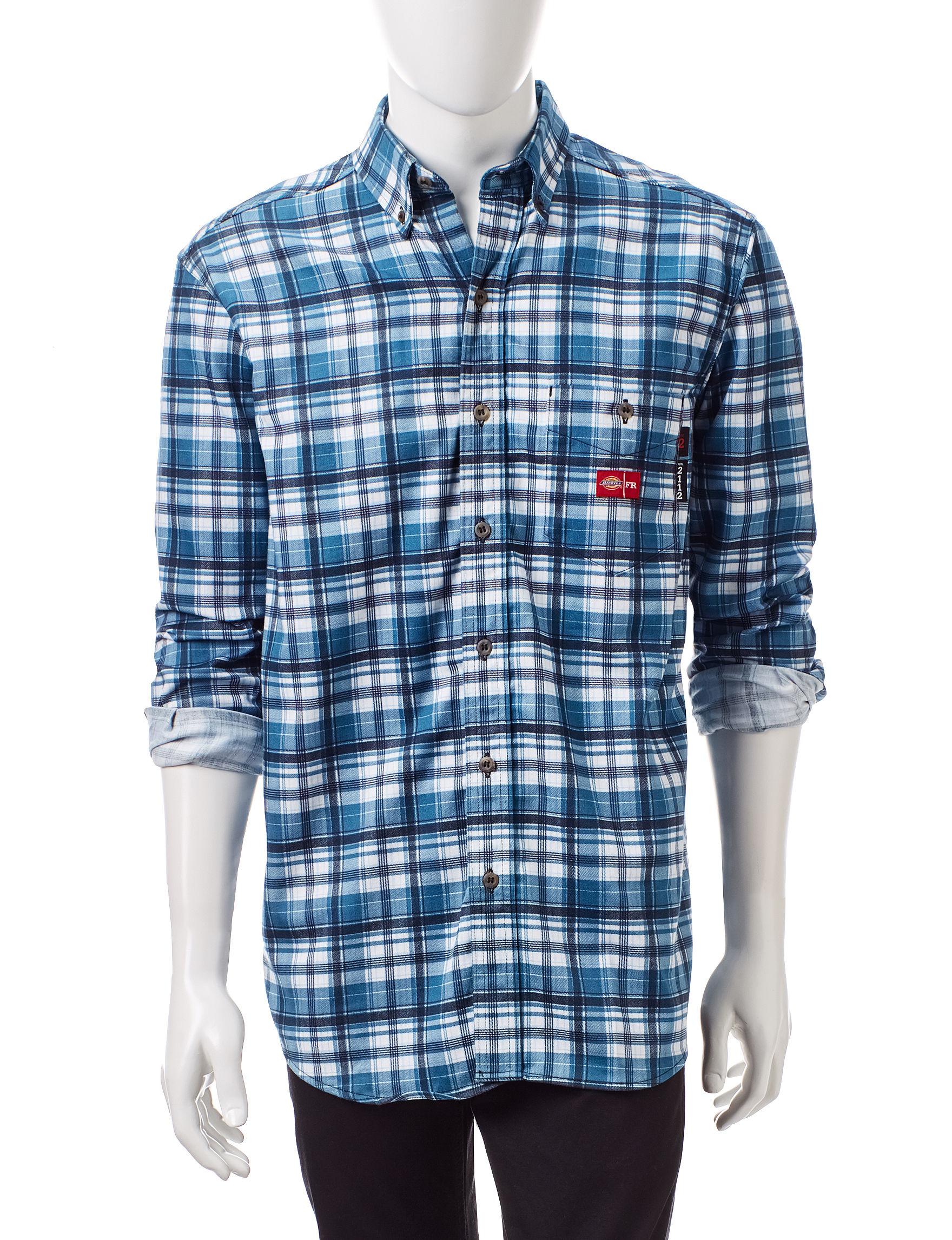 Dickies Dark Blue Casual Button Down Shirts