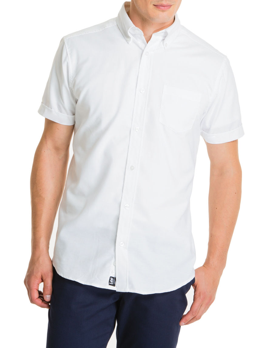 Lee White Casual Button Down Shirts