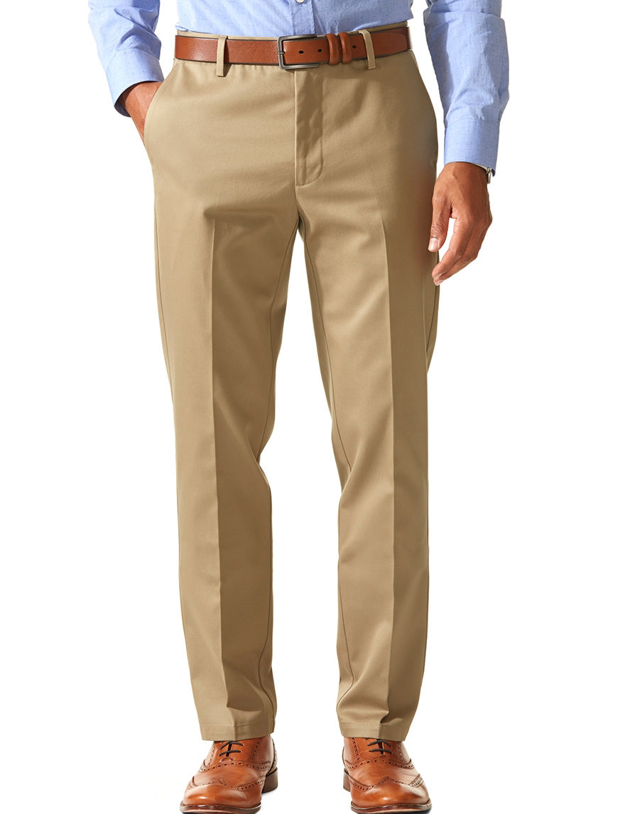 dockers solid color light brown signature slim tapered