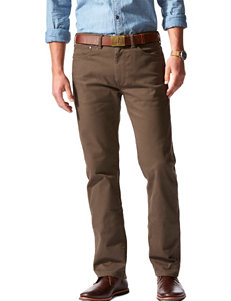 Dockers Solid Color Dark Brown Straight Fit Stretch Pants