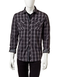 Signature Studio Black & Gray Plaid Military Woven Shirt