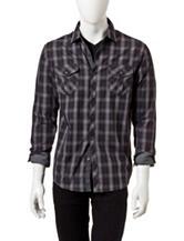 Signature Studio Black & Gray Plaid Military Woven Shirt