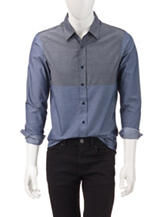 Signature Studio Blue Color Block Chambray Shirt