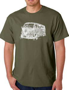 Los Angeles Pop Art Olive Military Green Tees & Tanks