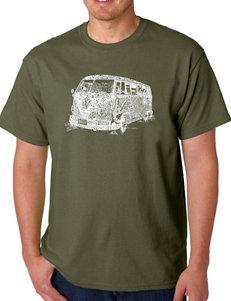 Los Angeles Pop Art Olive Military Green Tees & Tanks