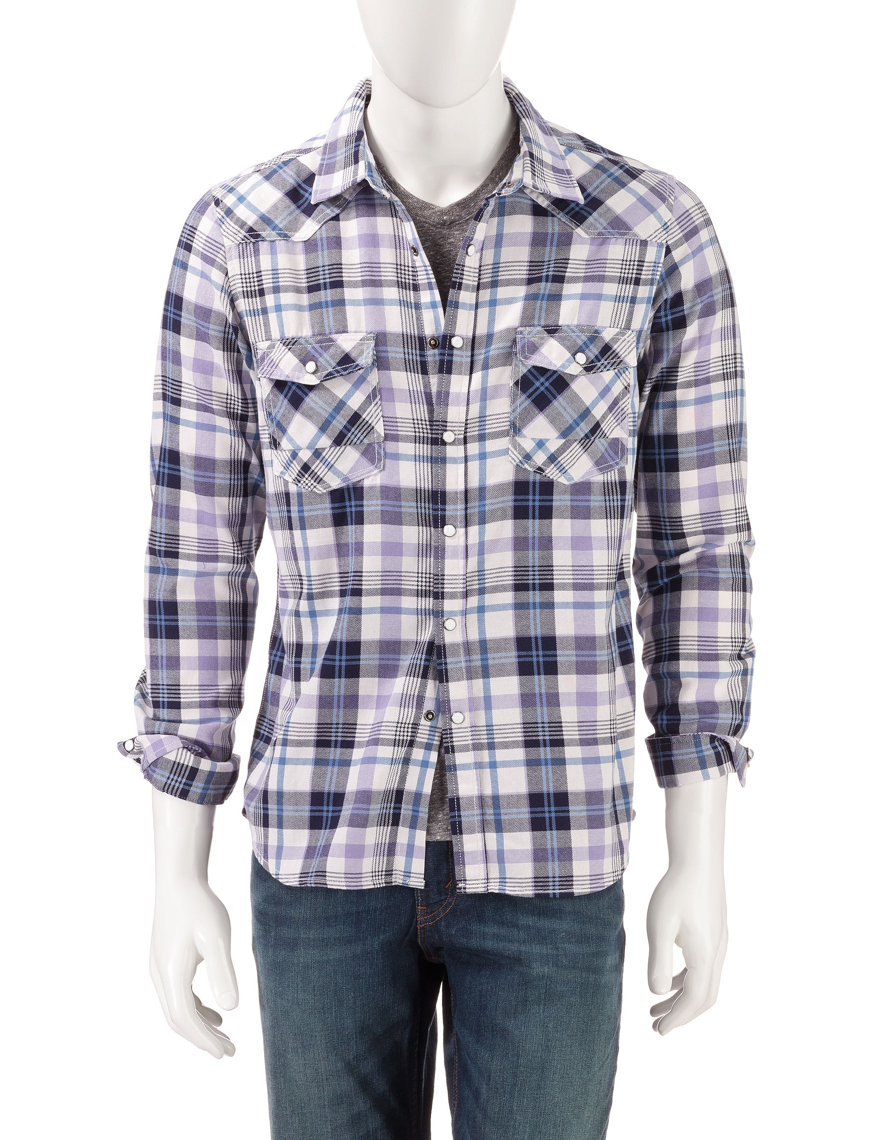 Red Snap Navy Plaid