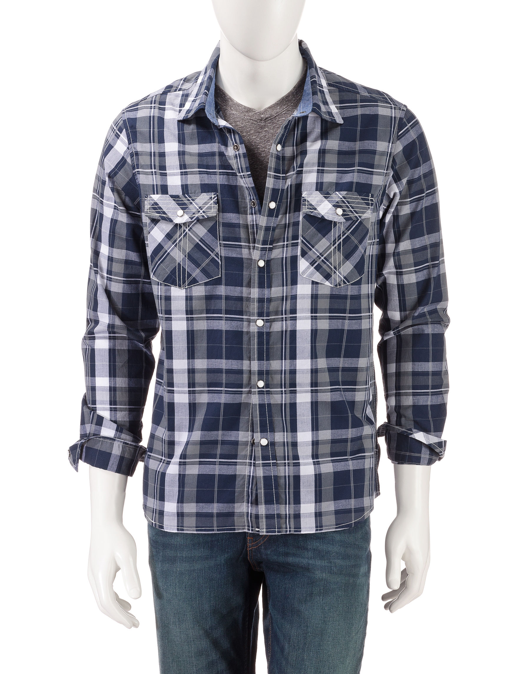 Red Snap Grey Plaid Casual Button Down Shirts
