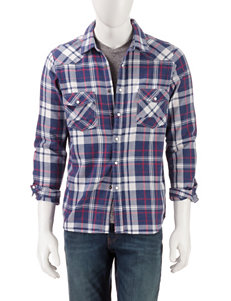 Red Snap Blue Plaid Casual Button Down Shirts