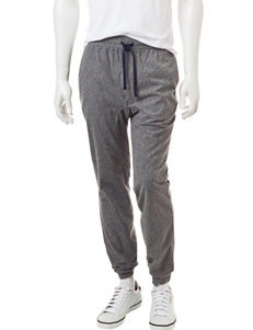 Rustic Blue Gray Brushed Twill Jogger Pants