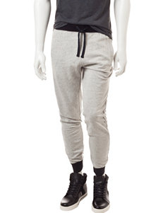 Rustic Blue Gray & Black Space-Dye Knit Jogger Pants
