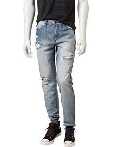 Rustic Blue Destructed Straight Leg Jeans
