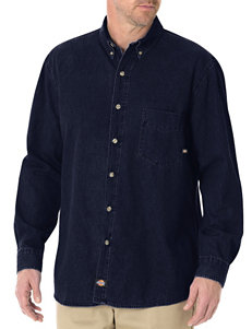 Dickies Blue Casual Button Down Shirts