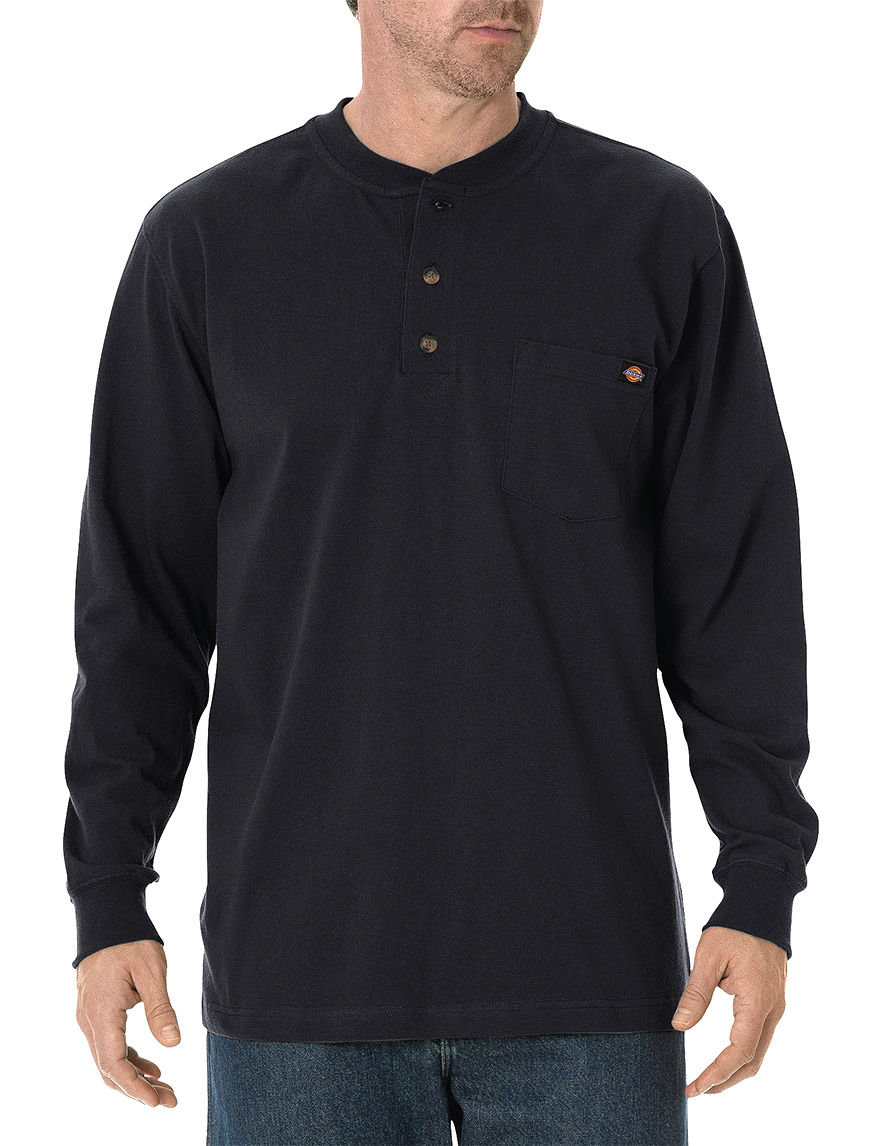 Dickies Black Henleys Tees & Tanks