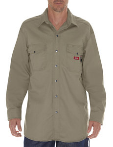 Dickies Khaki Casual Button Down Shirts