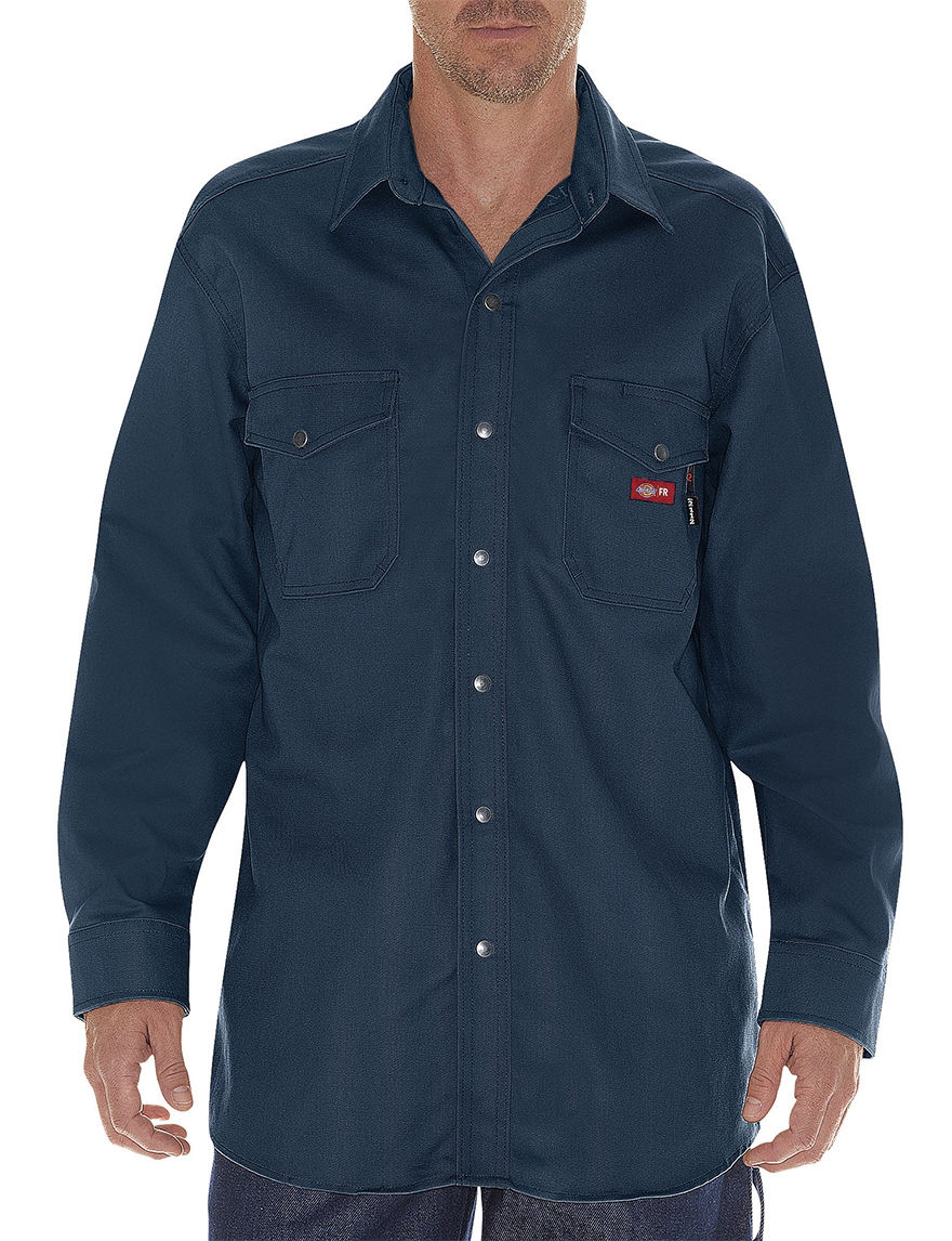 Dickies Navy Casual Button Down Shirts