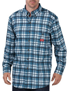 Dickies Blue Plaid Casual Button Down Shirts