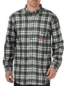 Dickies Green Plaid Casual Button Down Shirts