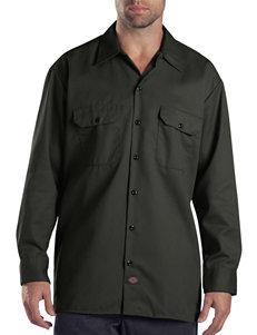 Dickies Dark Green Casual Button Down Shirts