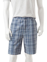 Sun River Multicolor Plaid Print Flat Front Shorts