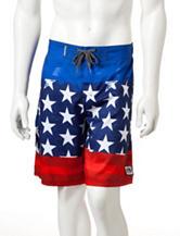 Ocean Current Flag Print Swim Shorts