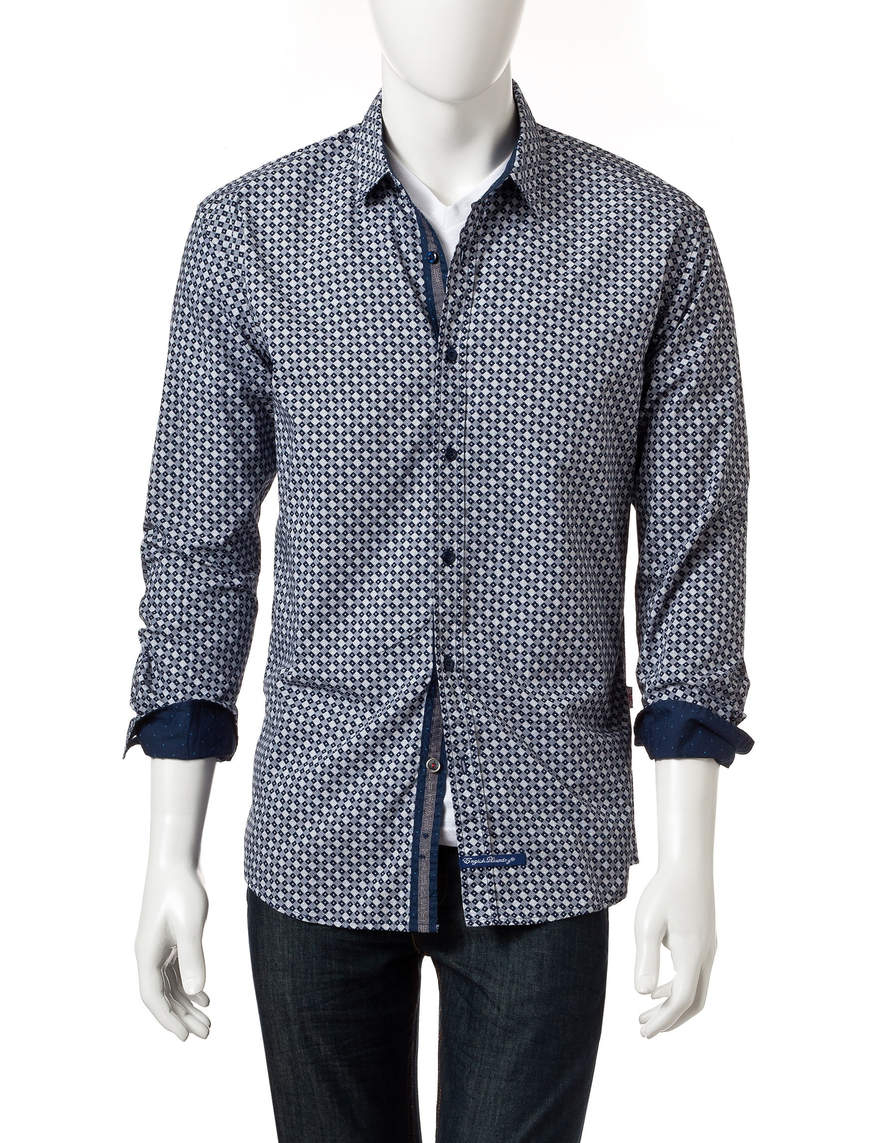 English Laundry Navy Multi Casual Button Down Shirts