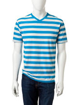 Rustic Blue Striped V-Neck T-shirt