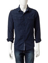 Marc Ecko Solid Color Navy Woven Shirt