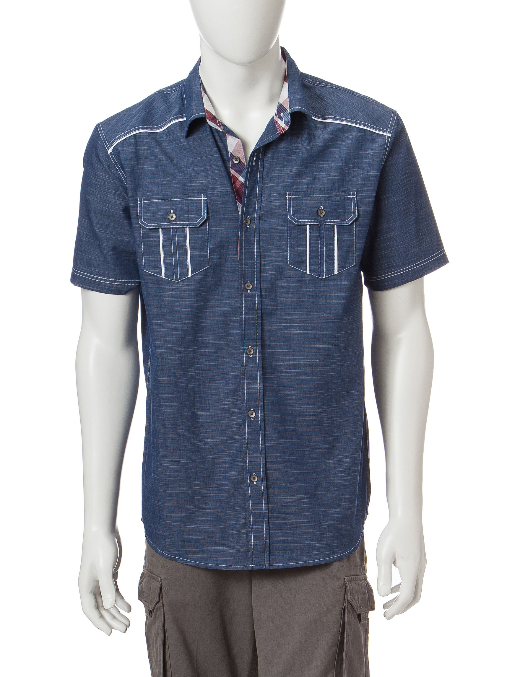 Rustic Blue Blue Stripe Casual Button Down Shirts