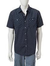 Rustic Blue Star Print Woven Shirt