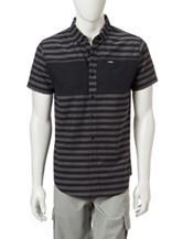 Zoo York Conductor Black & Grey Striped Print Woven Shirt