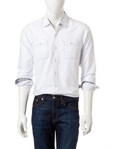 Signature Studio White Casual Button Down Shirts