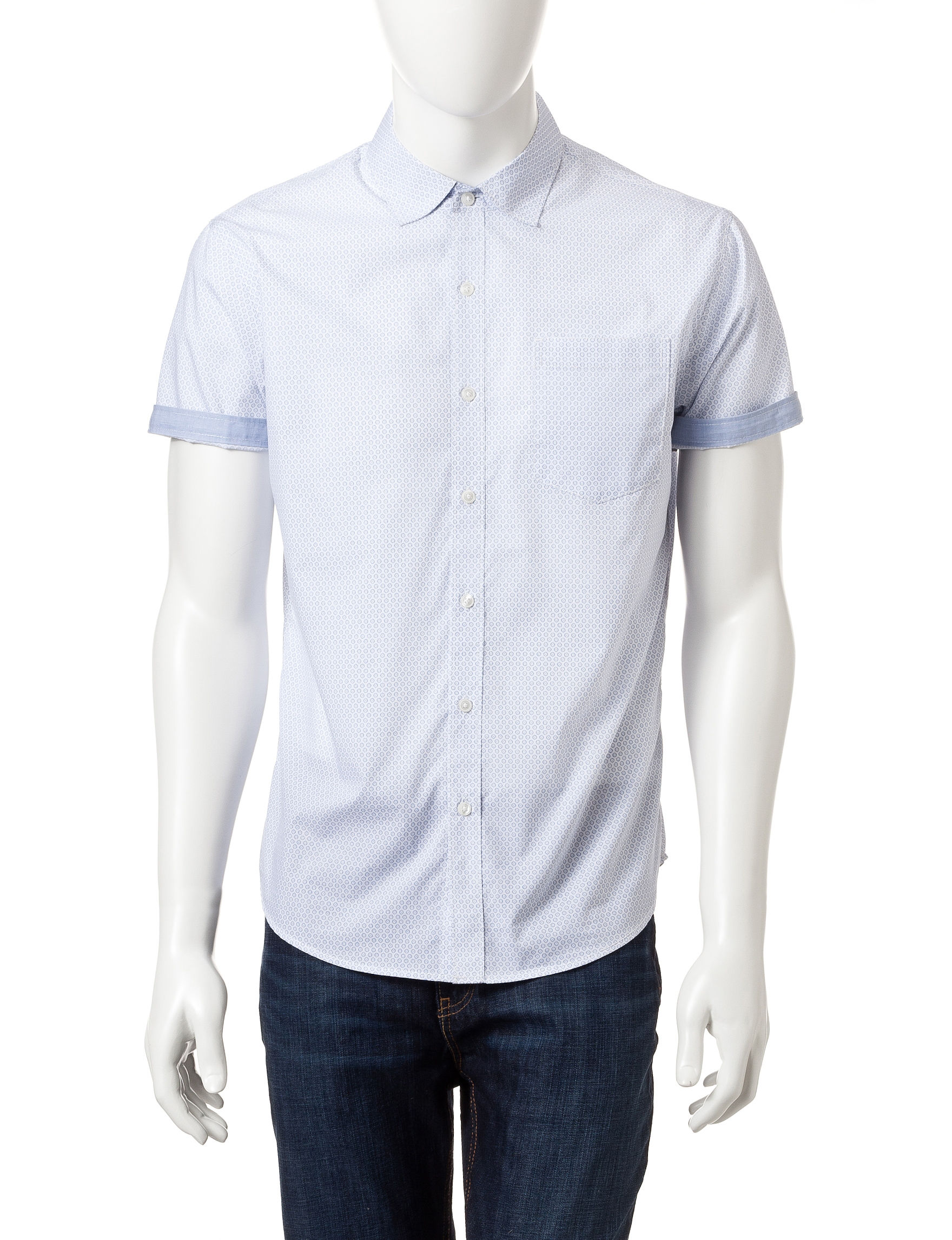 Signature Studio Sky Blue Casual Button Down Shirts
