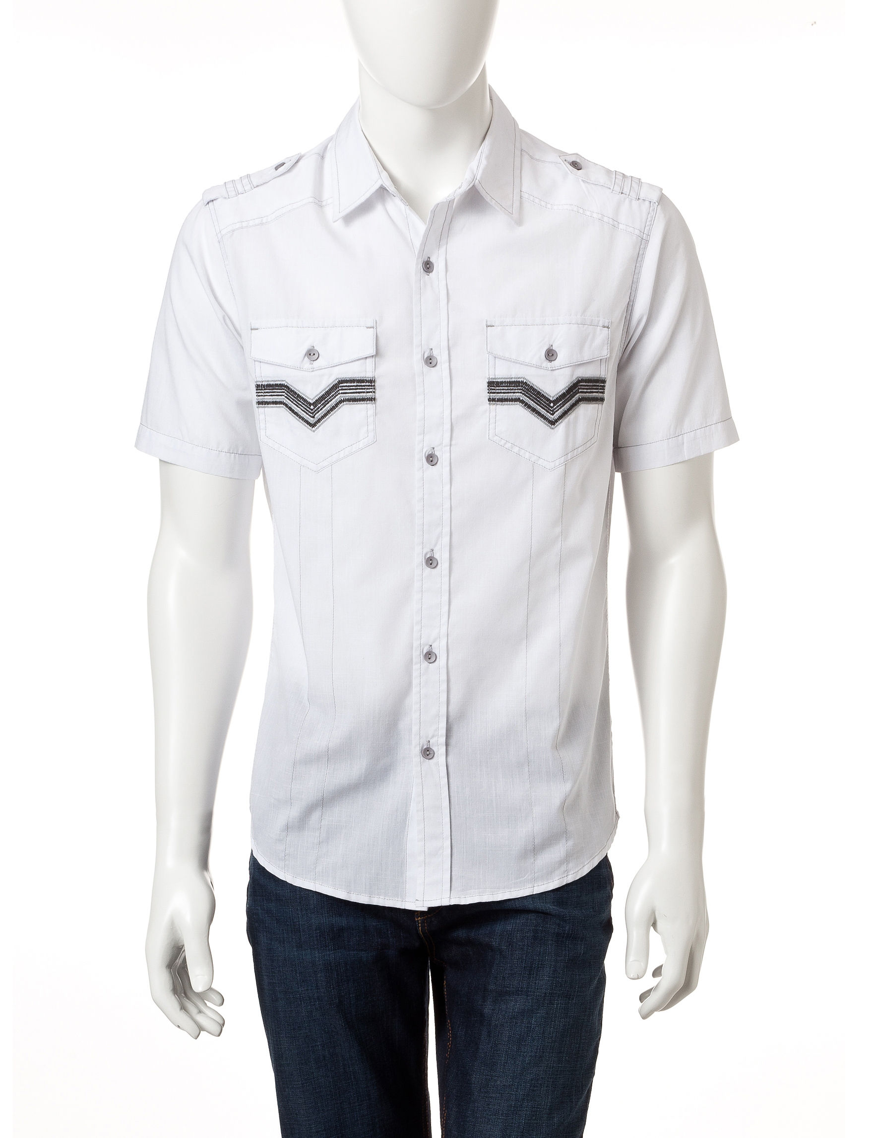 Rustic Blue White Casual Button Down Shirts
