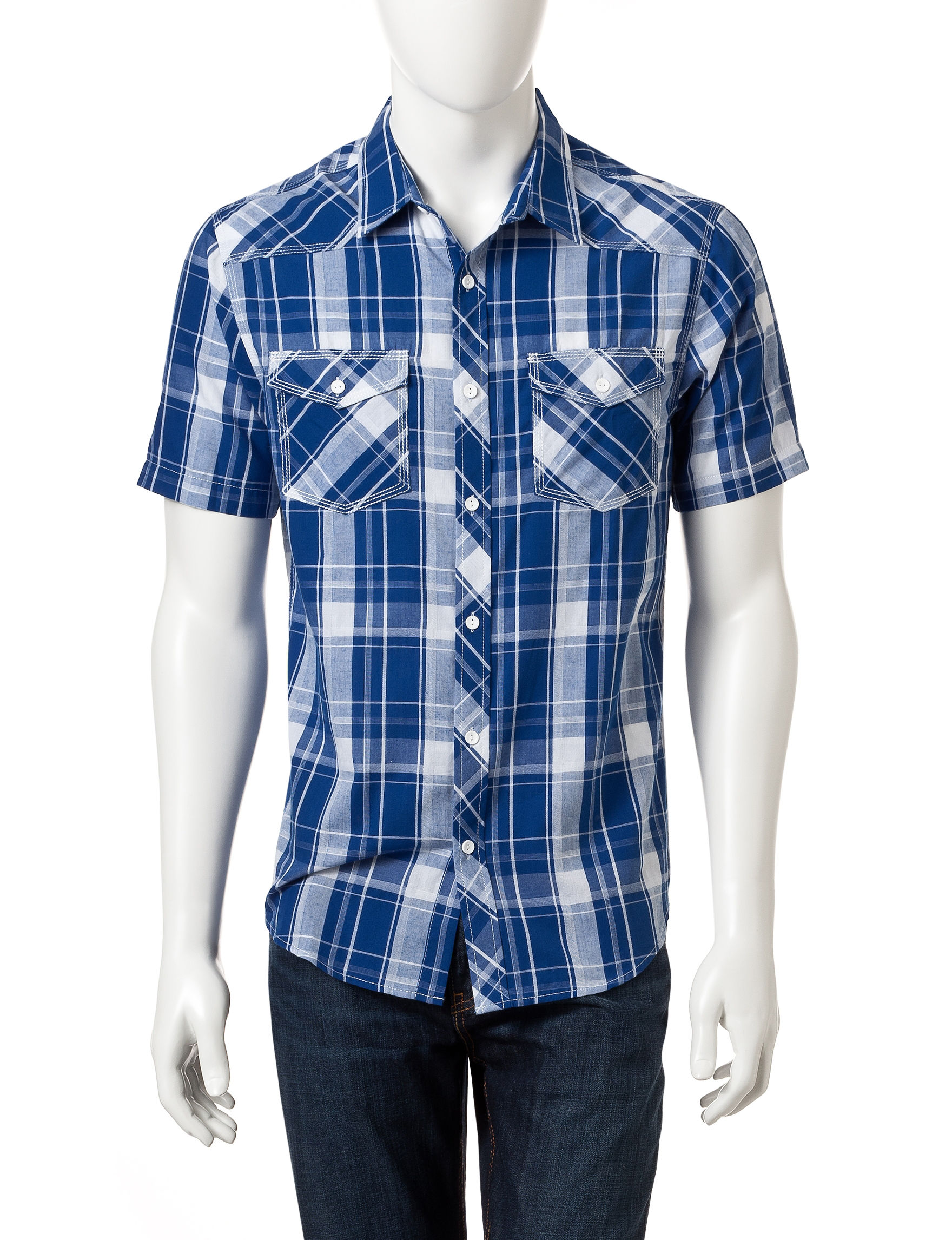 Surplus Blue / White Casual Button Down Shirts