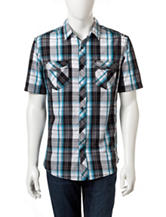 Rustic Blue Plaid Woven Shirt