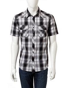 Surplus Black Plaid Casual Button Down Shirts