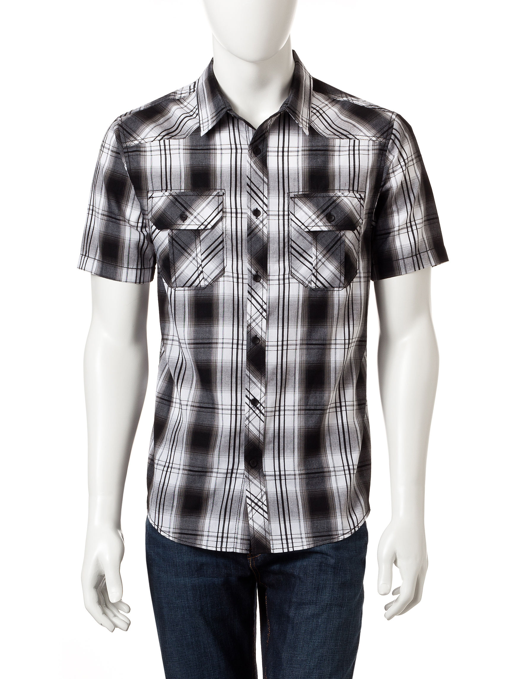 Rustic Blue Black Plaid Casual Button Down Shirts