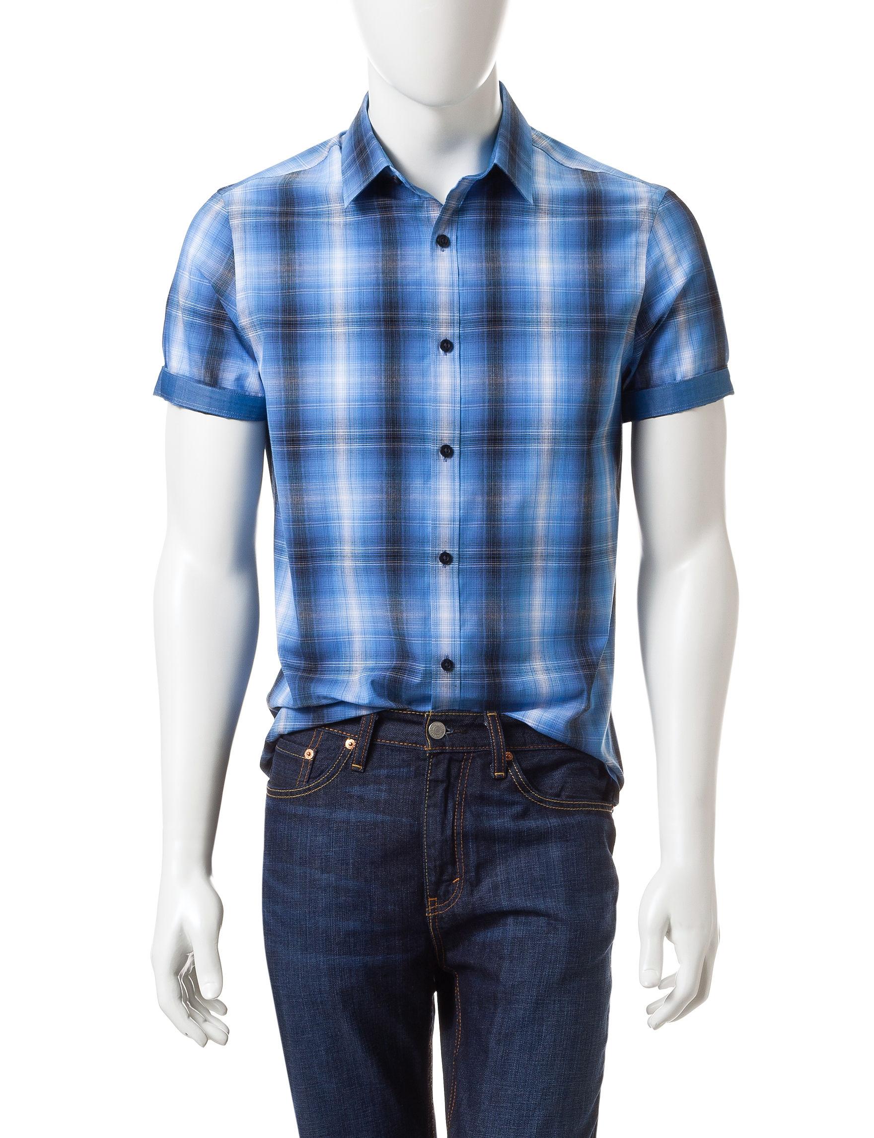 Axist Blue Casual Button Down Shirts