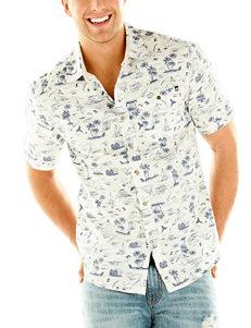 Point Zero White Casual Button Down Shirts