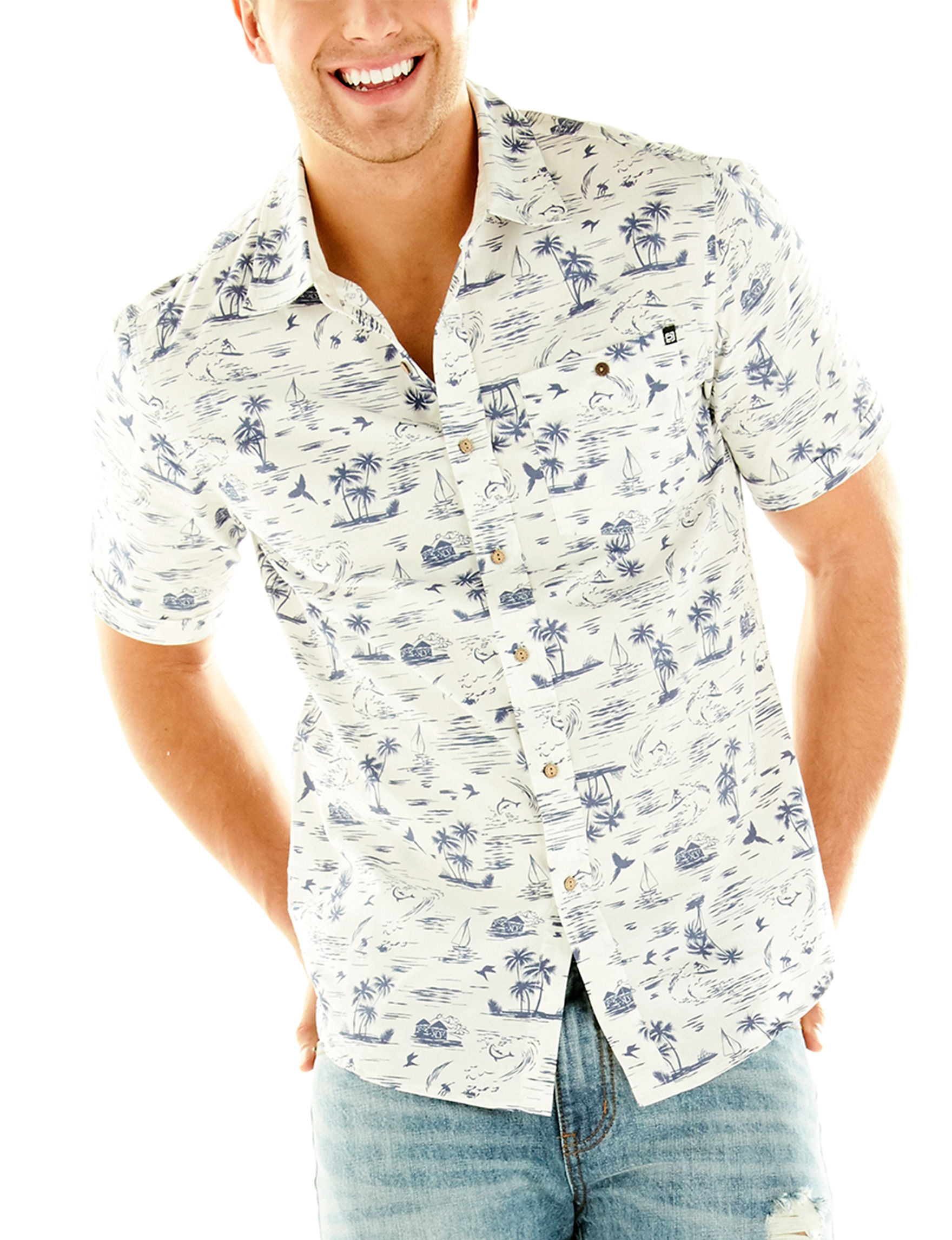Point Zero White Casual Button Down Shirts
