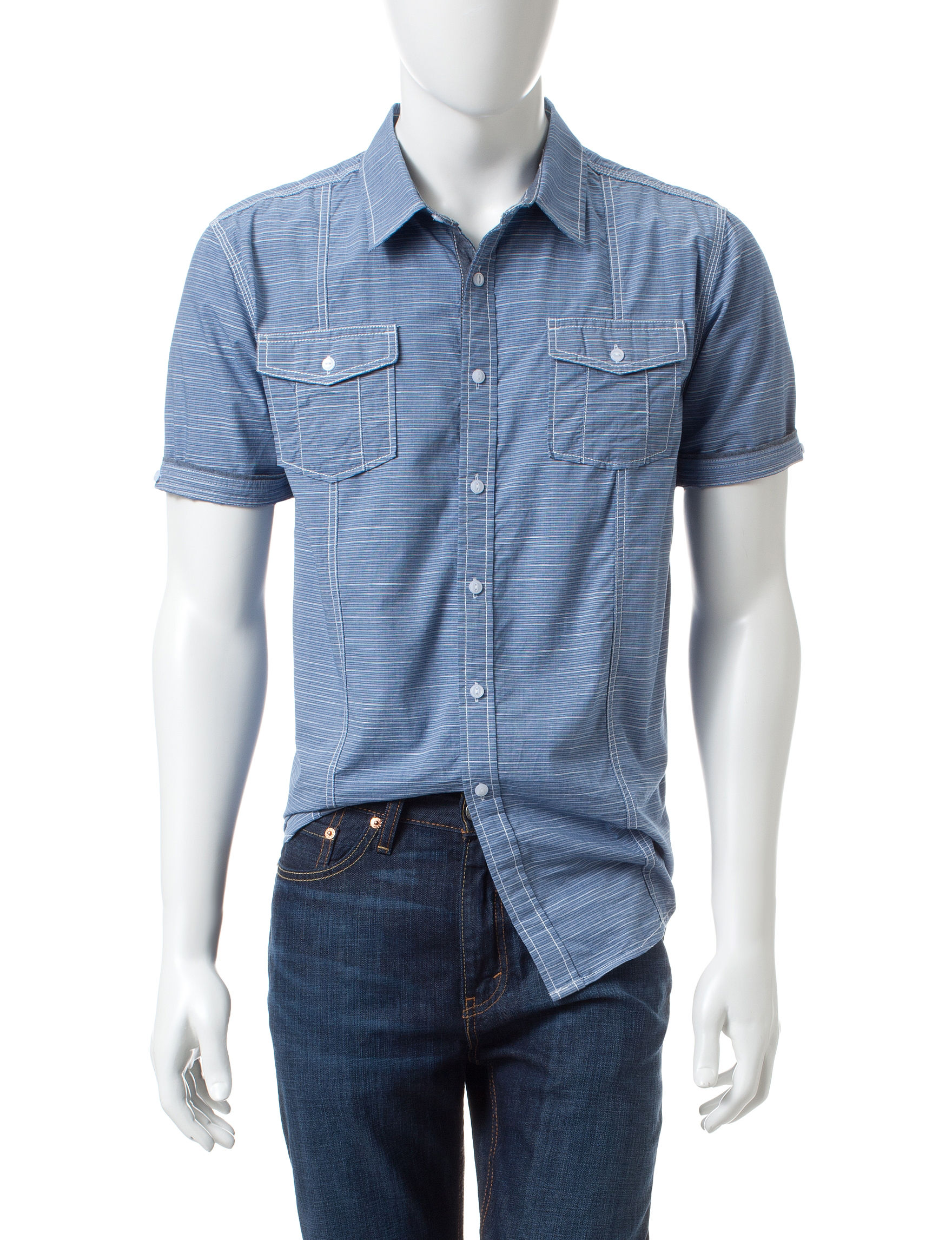 Point Zero Blue Casual Button Down Shirts