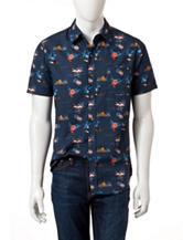 Ocean Current Flamingo Print Woven Shirt