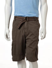 Plugg Solid Color Cumberland Belted Cargo Shorts