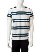 Ocean Current Floral Stripe Print T-Shirt