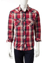 Red Snap Western Red Plaid Woven Shirt