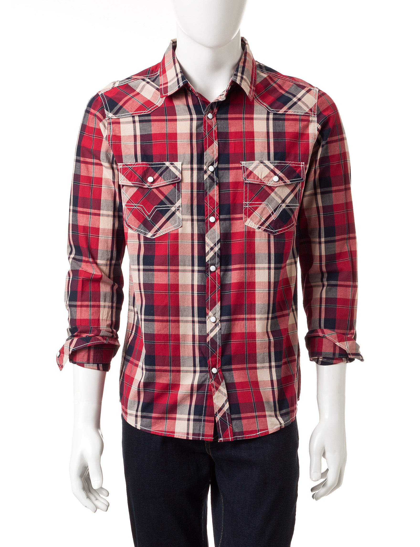 Red Snap Red Casual Button Down Shirts