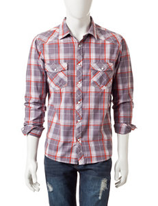 Red Snap Grey Casual Button Down Shirts