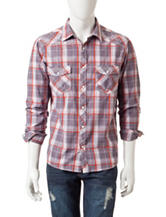 Red Snap Western Plaid Woven Shirt